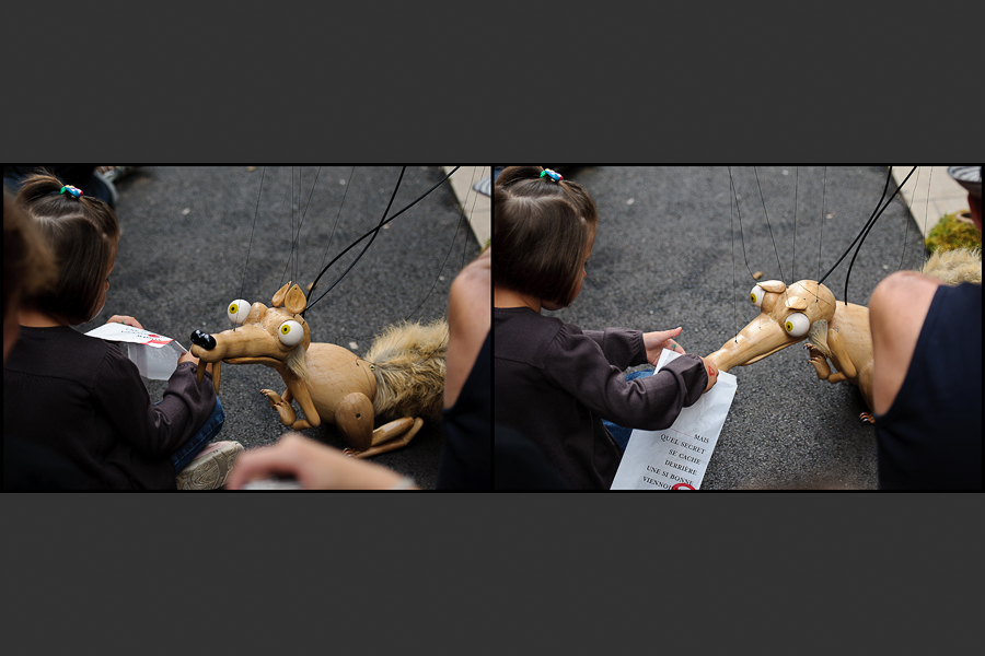 Chalon dans la rue - Scratch en marionette réclamant à manger