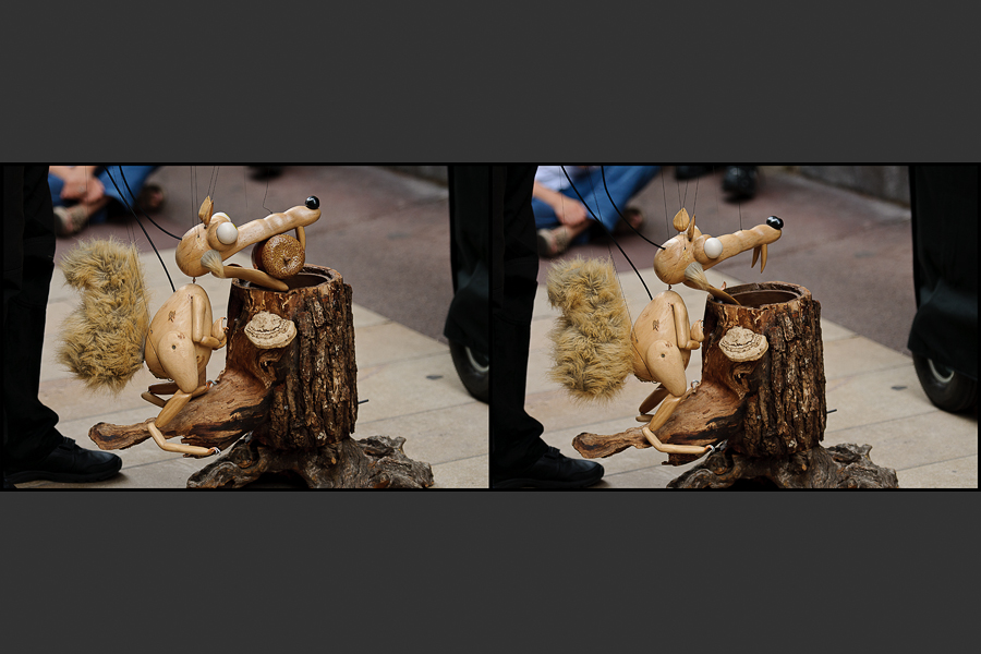 Chalon dans la rue - Scratch en marionette cachant son gland