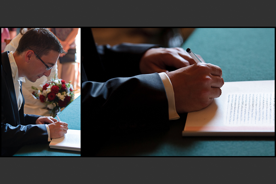 Le marié signe la déclaration de mariage à la mairie