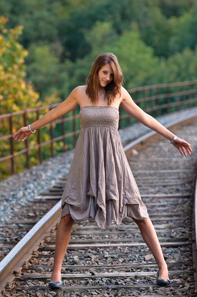 Prête à stopper le train !