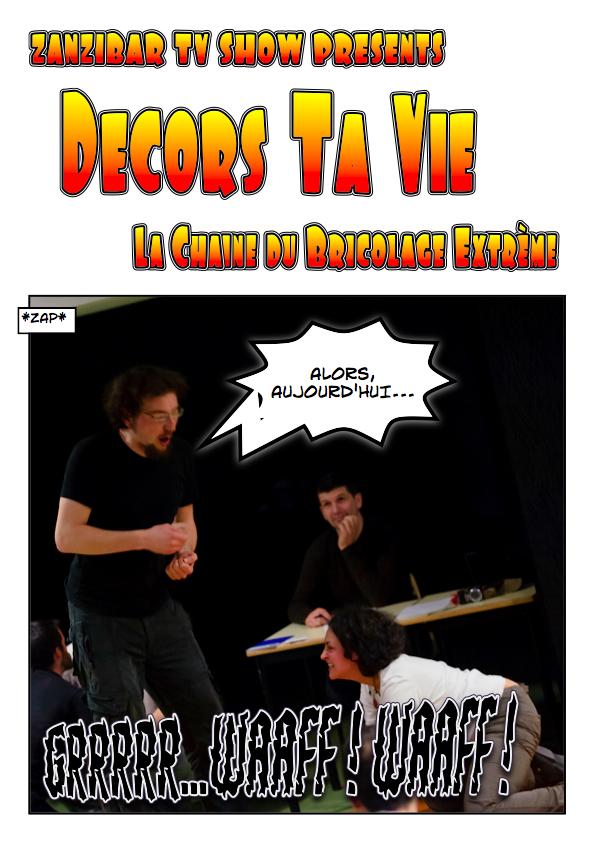 Improvisation de type zapping tv illustrée en bande dessinée