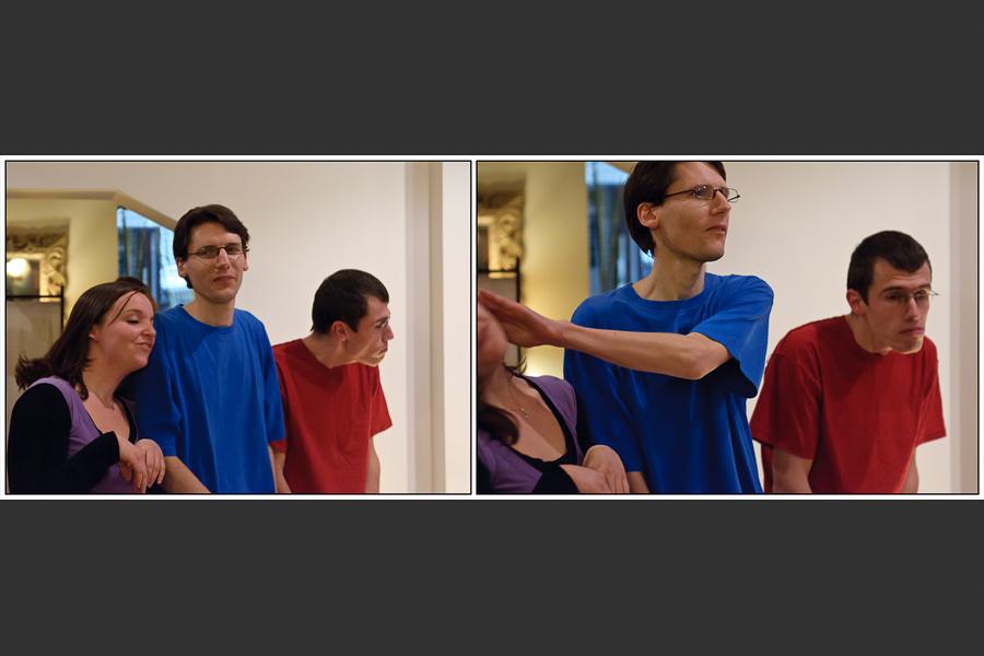 Diptyque de trois comédiens jouant des hamsters puis le dominant rejète un autre trop calin