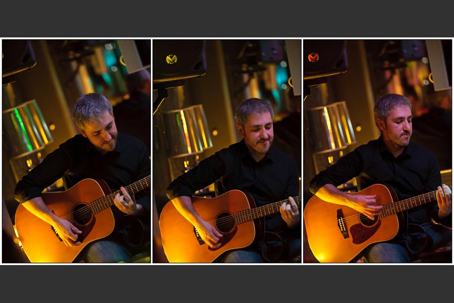 Tryptique du guitariste concentré sur son morceau