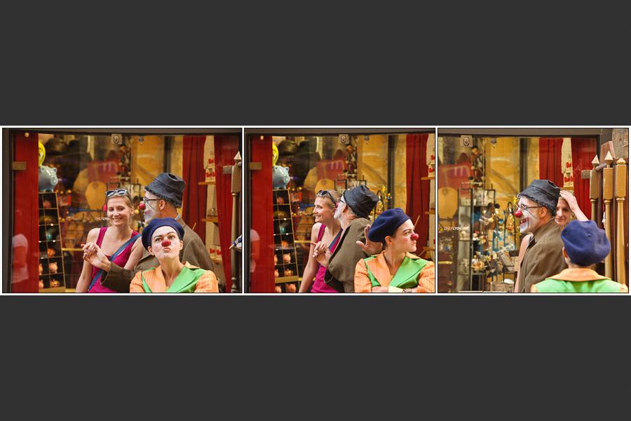 Triptyque d'une scène de jalousie entre la clown et une passante qui se battent pour l'attention du clown