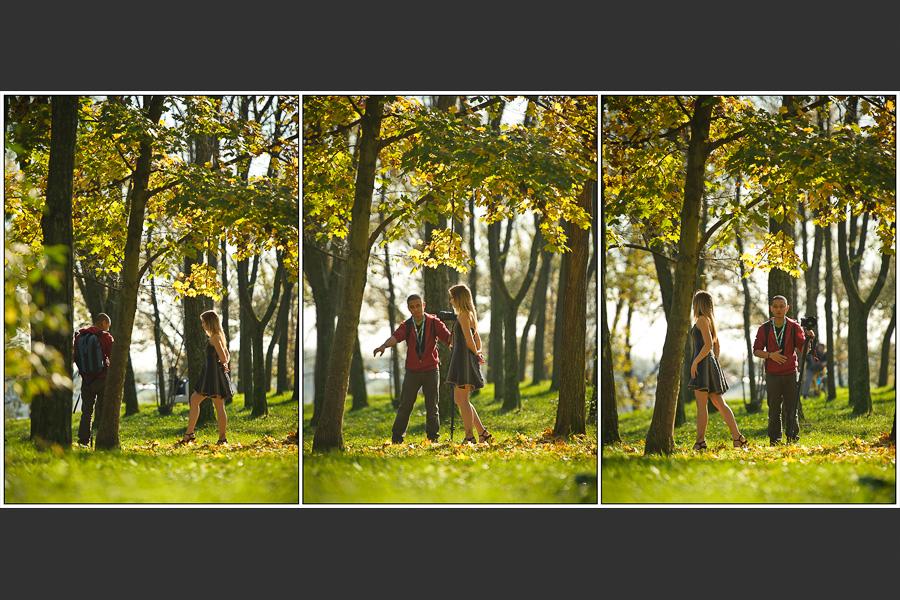 Triptyque d'un backstage avec un photographe guidant une modèle dans les sous bois