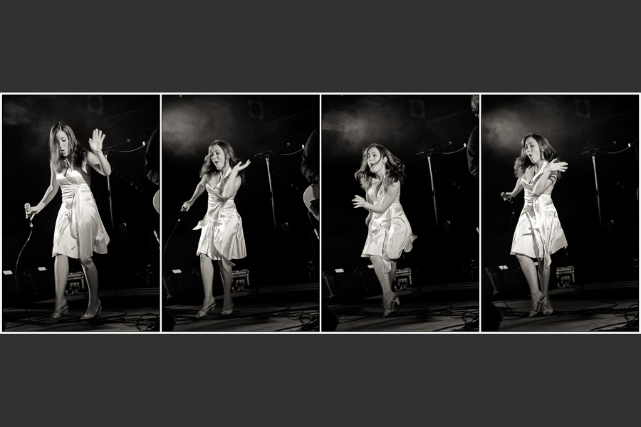 Quadriptyque représentant la chanteuse en train de danser le twist