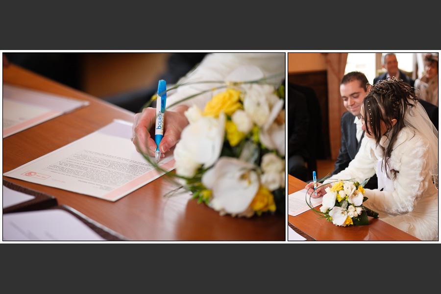 Diptyque de la mariée signant les documents de la mairie