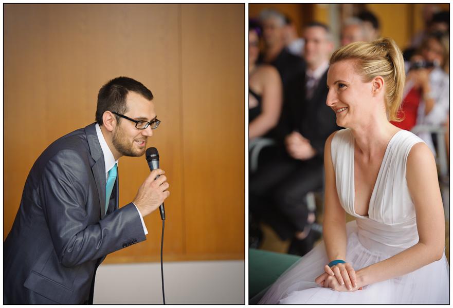Diptyque du marié récitant son discours s'adressant à sa future épouse émue