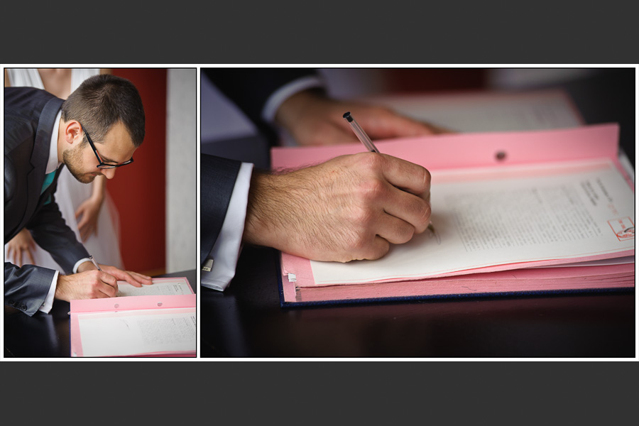 Diptyque du marié signant les papiers de la mairie